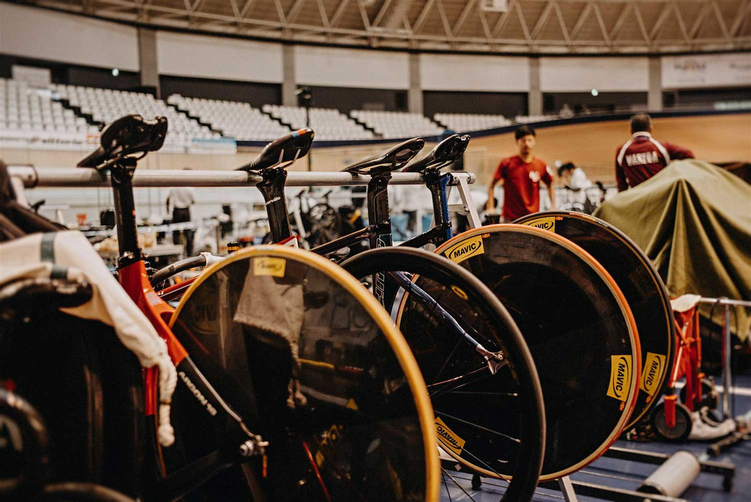 Track cycling bikes all lined uo ready for the National Keirin Championships at Izu Velodrome, Japan