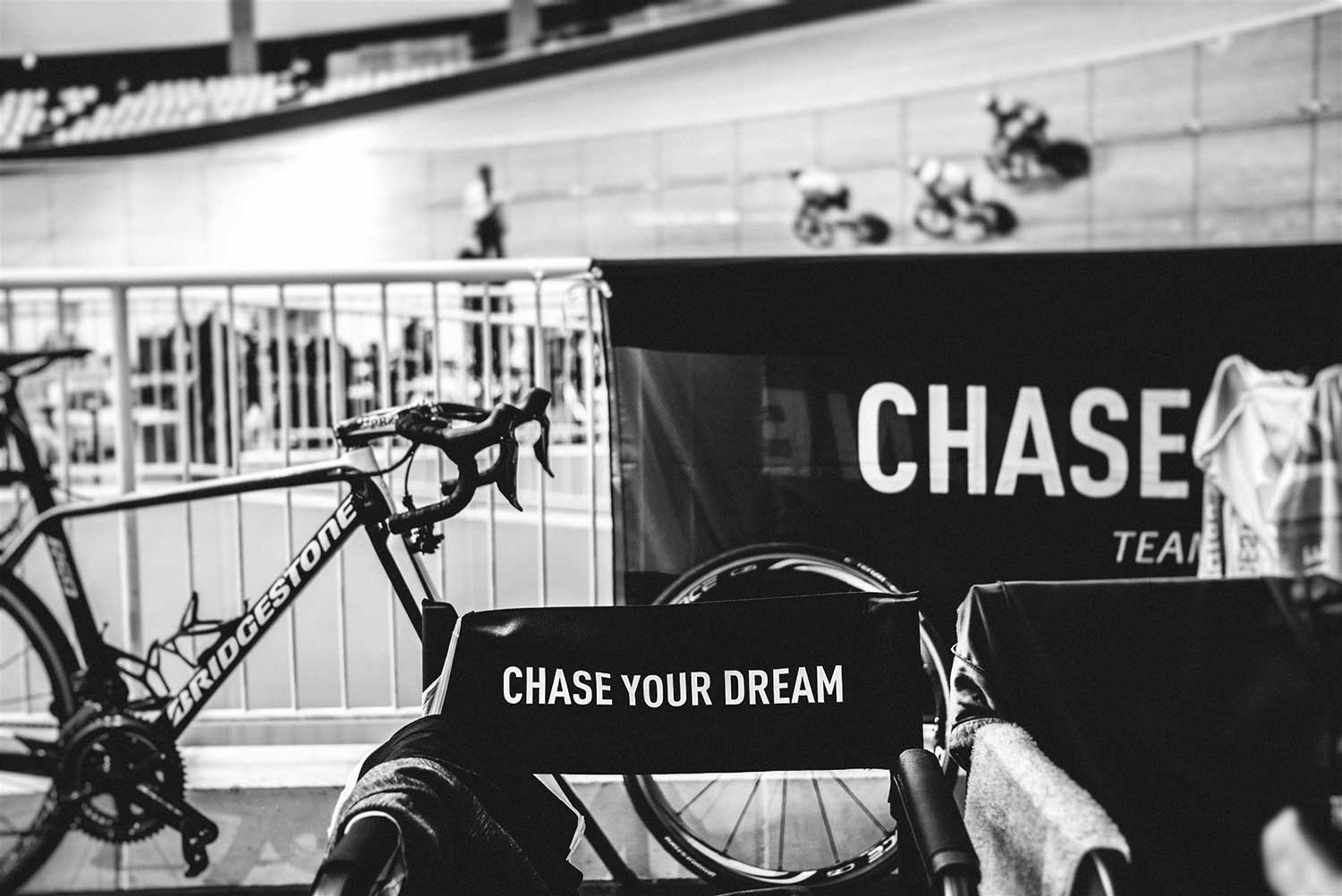 Empty seat with Chase Your Dream written on it to motivate cyclists during National Keirin Championships at Izu Velodrome