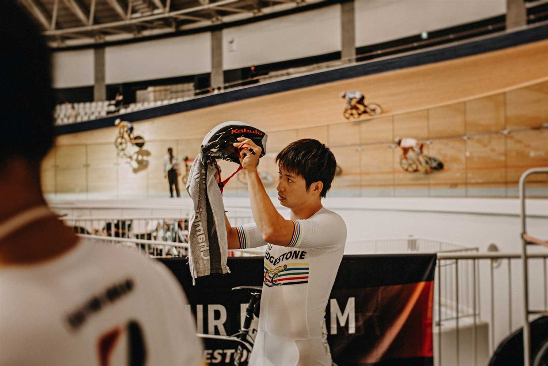 Japanese track cyclist prepares for National Keirin Championships at Izu Velodrome