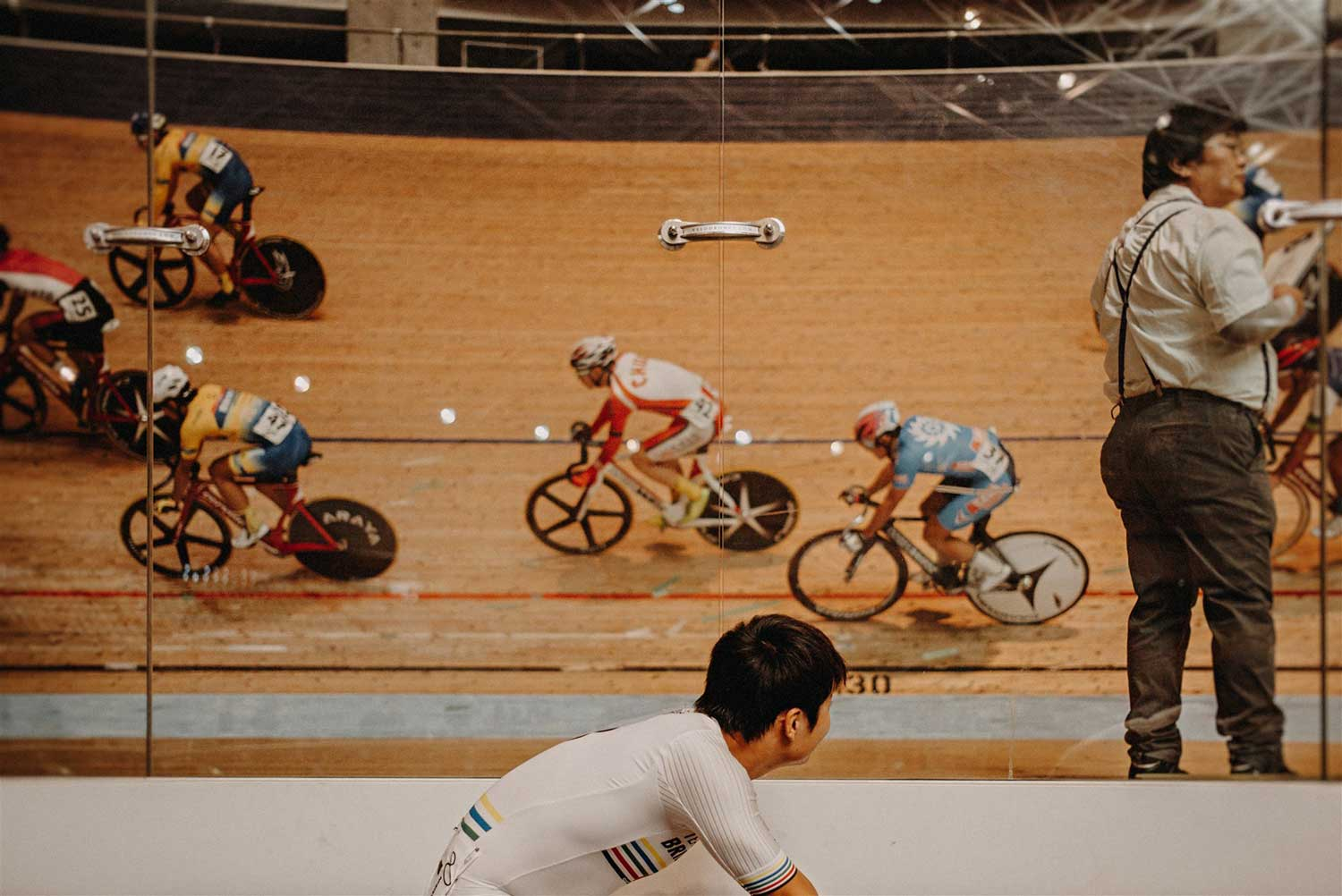 Japan Keirin Champion cyclist watches event at Izu Velodrome during