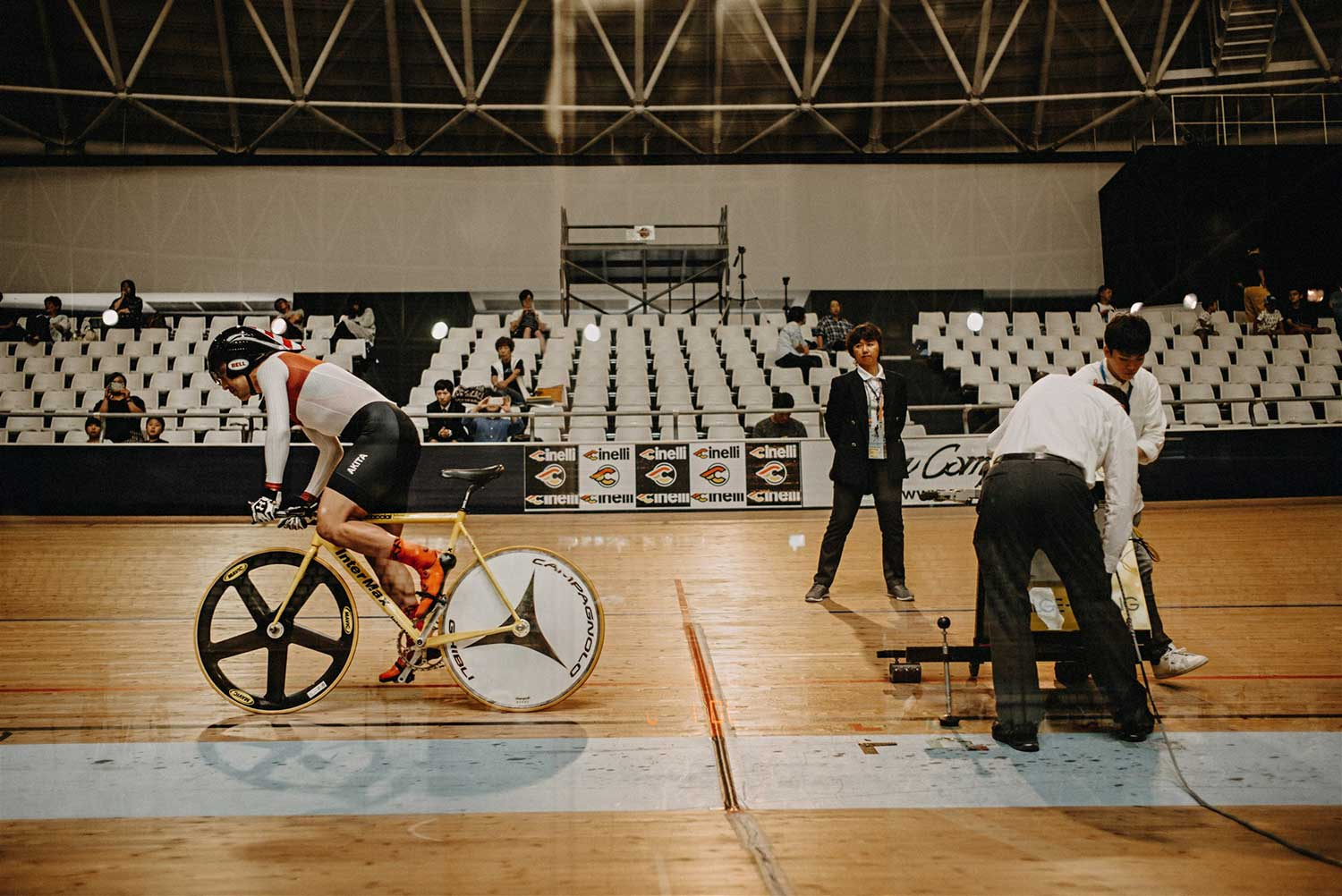 Track cyclist leaves the starting blocks at National Time Trial track cycling championships, Izu Velodroime, Japan