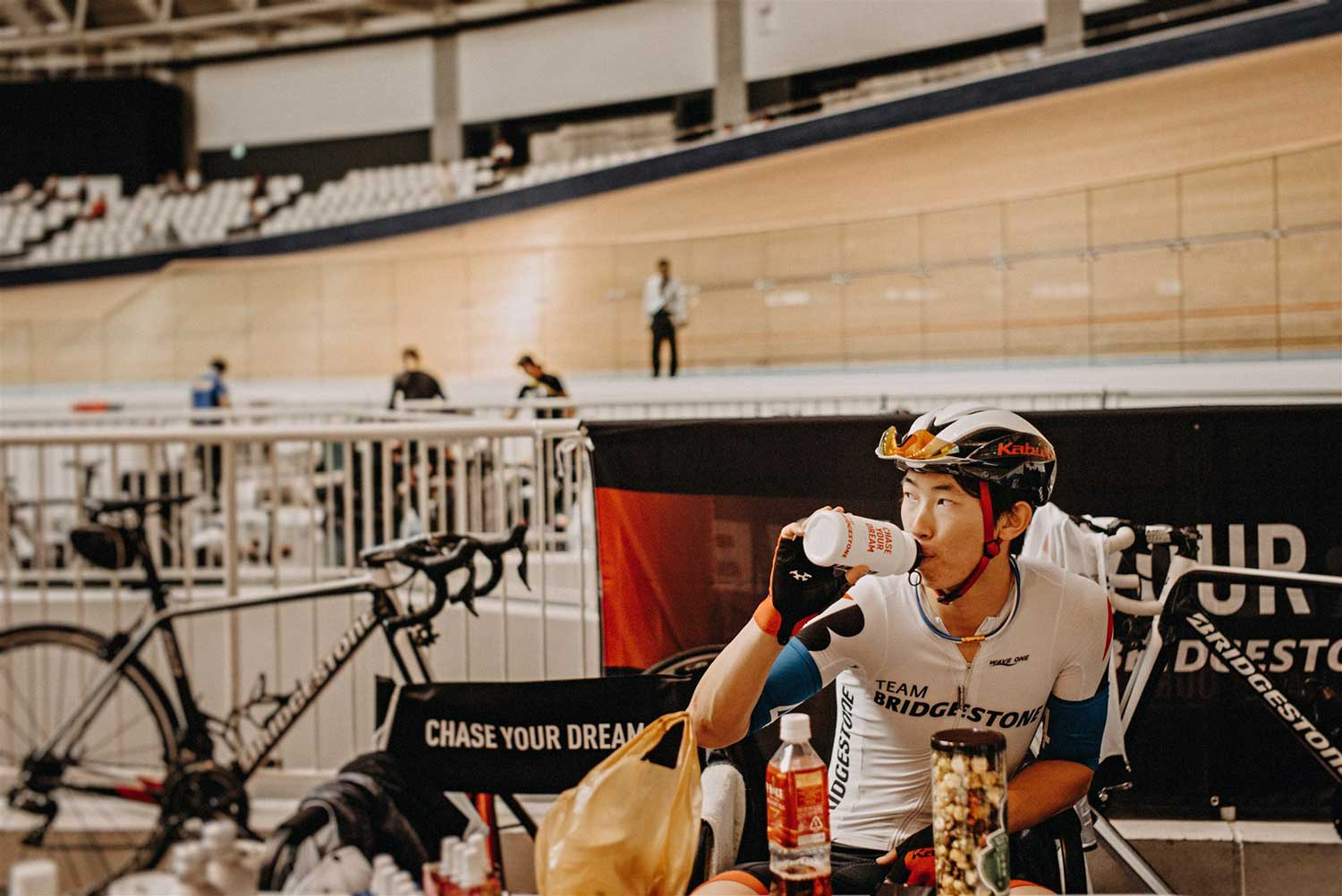 Japanese Olympic track cyclist prepares for the National Keirin Championships at Izu Velodrome, Japan